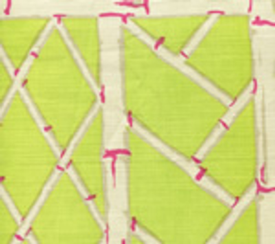 LYFORD TRELLIS BACKGROUND  6020W 06 Lime Magenta on Beige