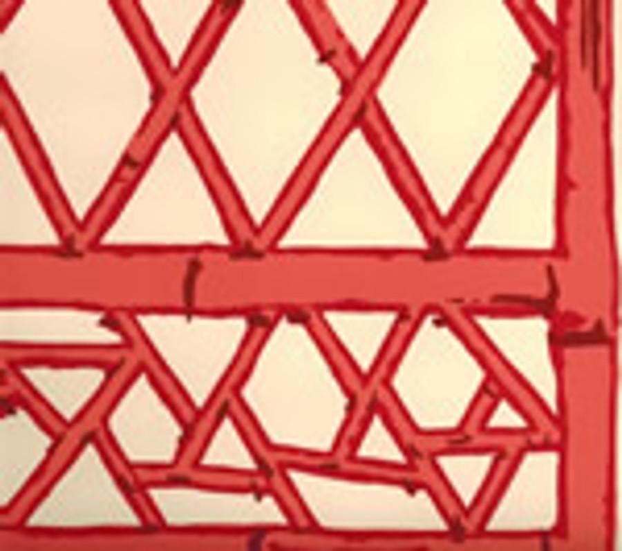 LYFORD TRELLIS 6020W 04 Beige Tangerine Red Merlot on Cream