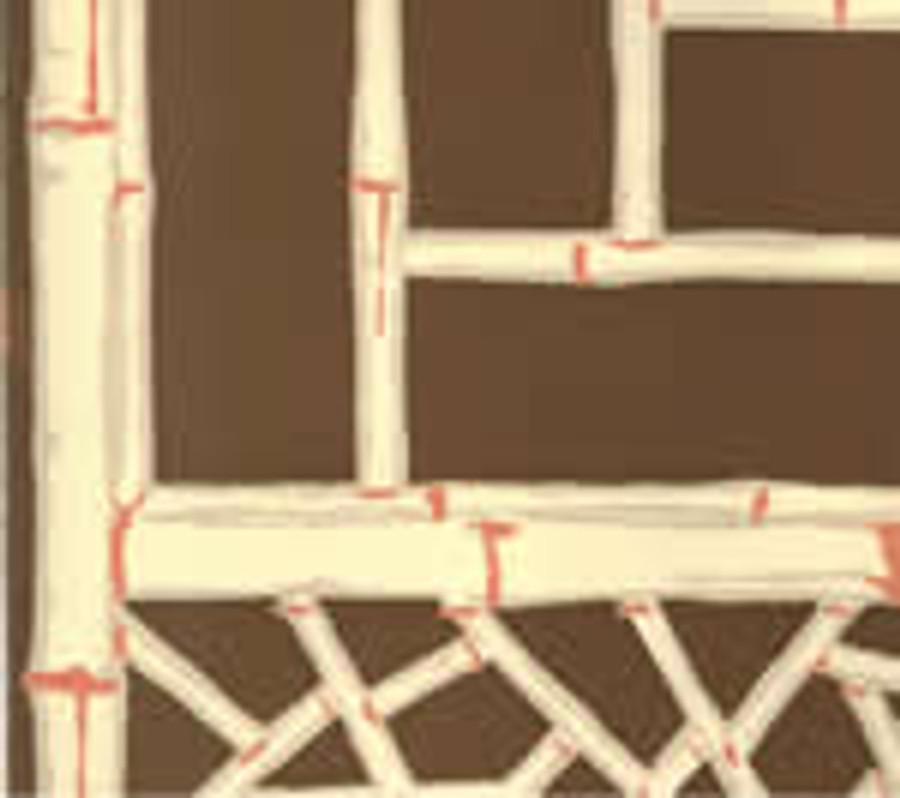 Lyford Trellis Wallpaper 6020W 01 Natural on Brown on Cream