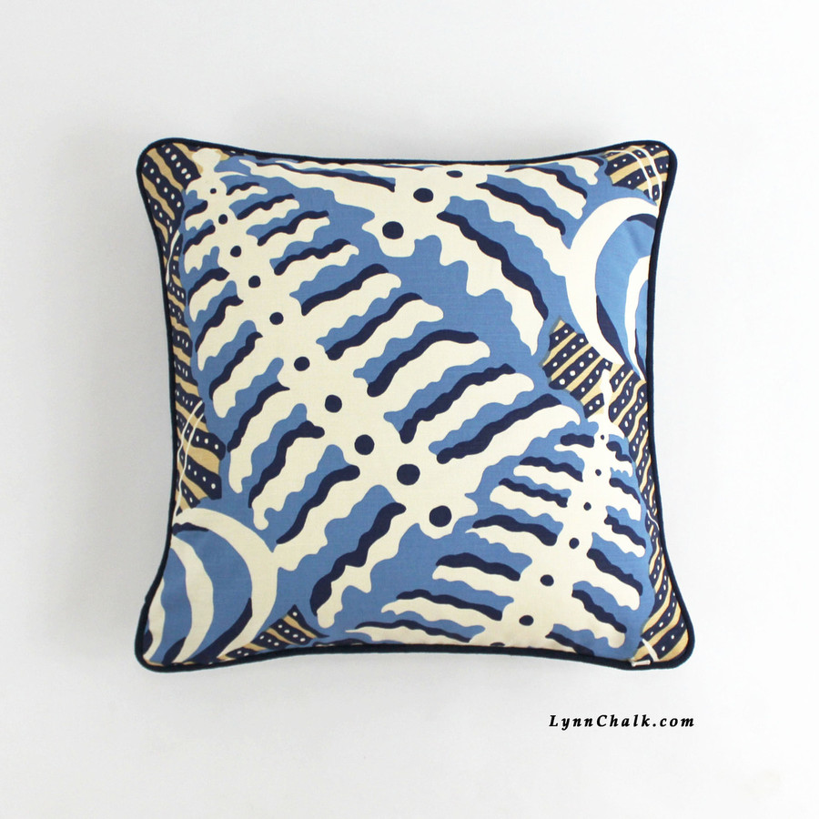 Quadrille Ferns Pillow Blues Beige on Tint with Navy Welting (18 X 18)