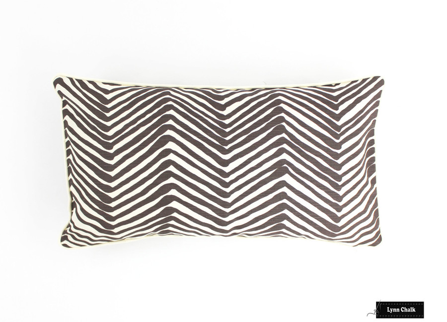 Quadrille Zig Zag Brown on Tint with Ivory Welting Pillow (14 X 24)