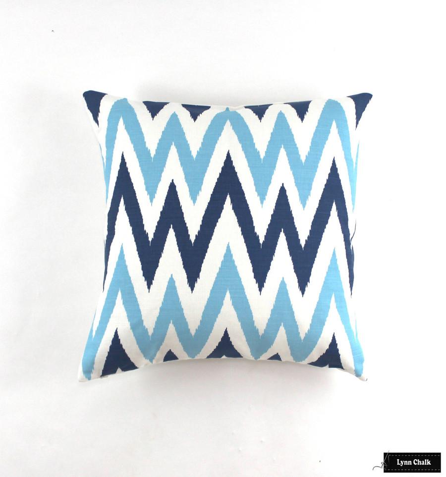 Quadrille Tashkent II Small Scale Navy Blue on White 306026F Pillows 22 X 22