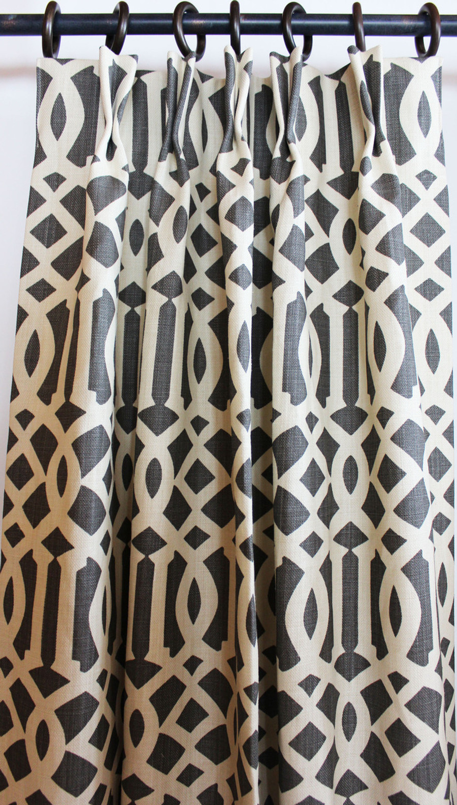 Custom Pleated Drapes by Lynn Chalk in Imperial Trellis in Midnight