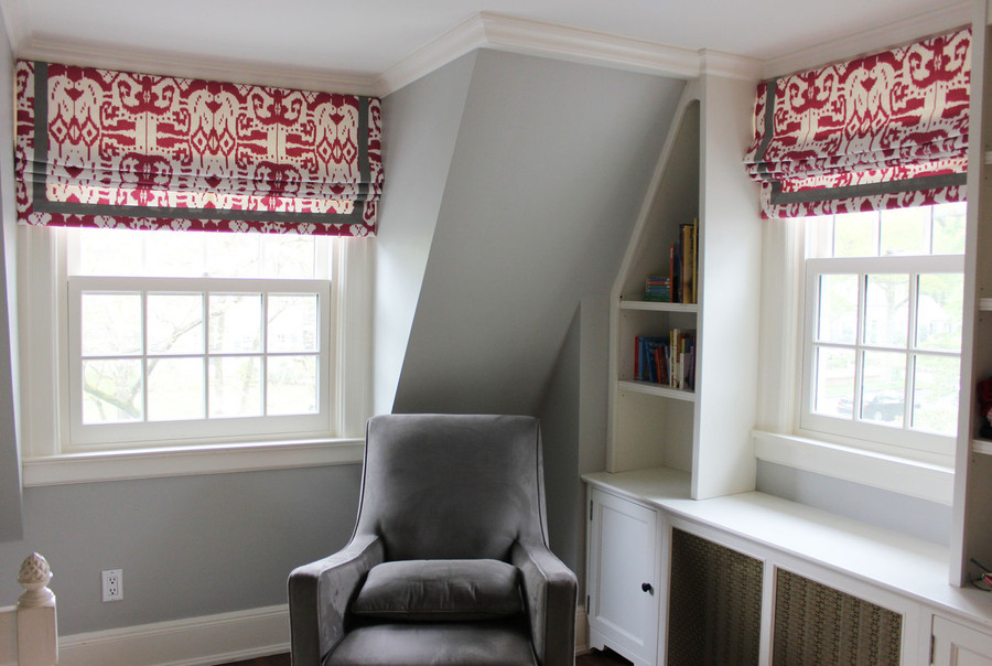"Custom Roman Shades by Lynn Chalk in Island Ikat in Magenta with Samuel & Sons Grosgrain Trim 1 1/2"" Wide."