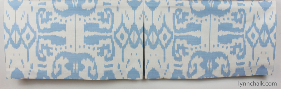 Custom Roman Box Pleated Valance by Lynn Chalk in Quadrille China Seas Island Ikat Zibby Blue on White