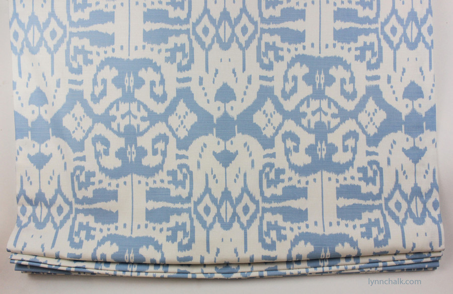 Custom Roman Shade by Lynn Chalk in Quadrille China Seas Island Ikat Zibby Blue on White