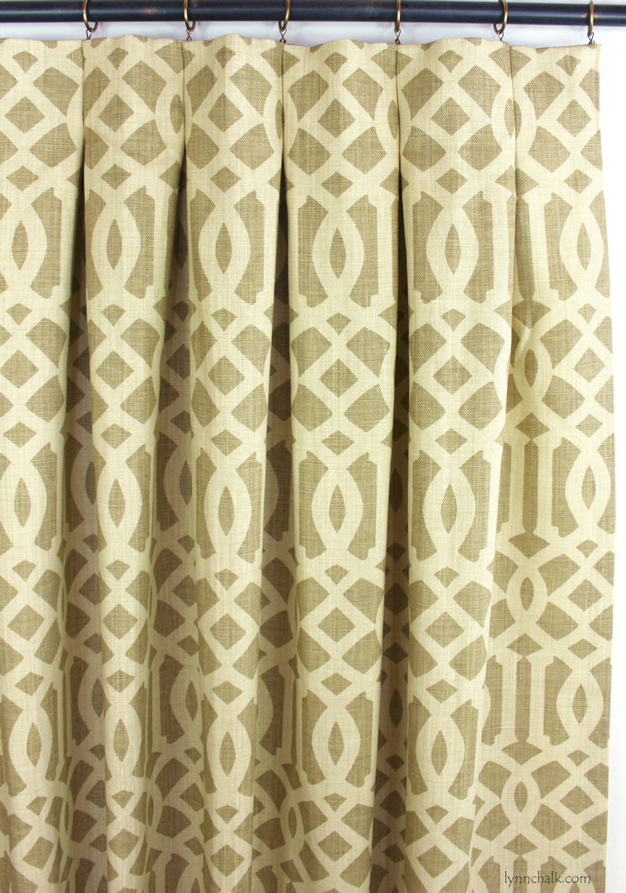 Inverted Pleated Drapes in Imperial Trellis Natural/Coffee