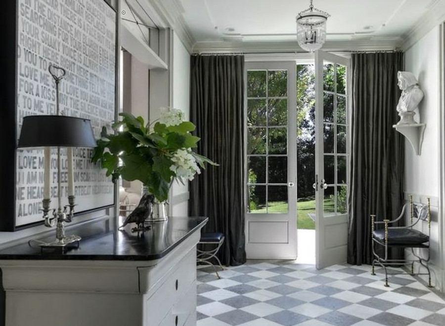 This beautiful room was designed for Gwyneth Paltrow by Windsor Smith.  These gorgeous Grey Linen Drapes can be made in Robert Allen Milan Solid Linen in Steel, or for a heavier textured linen drape, Robert Allen Heirloom Linen in Steel.