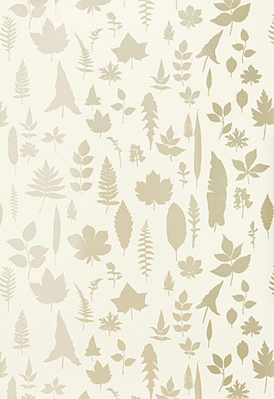 Schumacher Modern Nature Collection Leaves Wallpaper in Platinum 5005020 (Priced and Sold by the Yard.  Must order in increments of 8 yards)