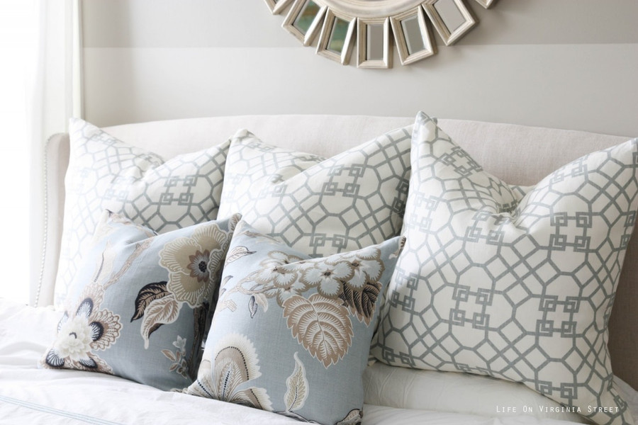 Pillows in Windsor Smith Pelagos in Haze.  Front Pillows in Celerie Kemble Hot House Flowers in Mineral. (Picture Life on Virginia Street)
