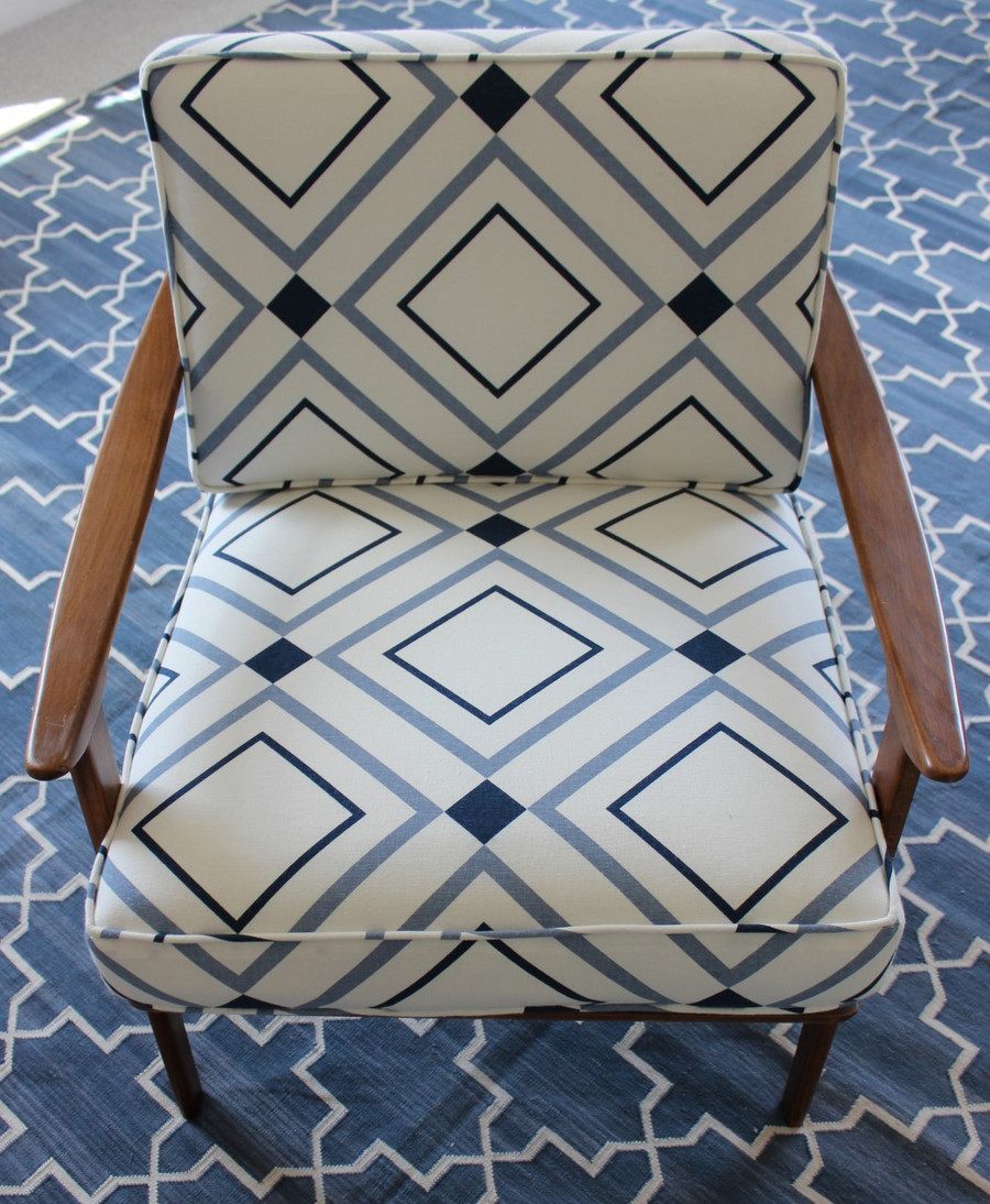 Chair in Victoria Hagan Diamond Lights Denim/Indigo by Holland and Sherry