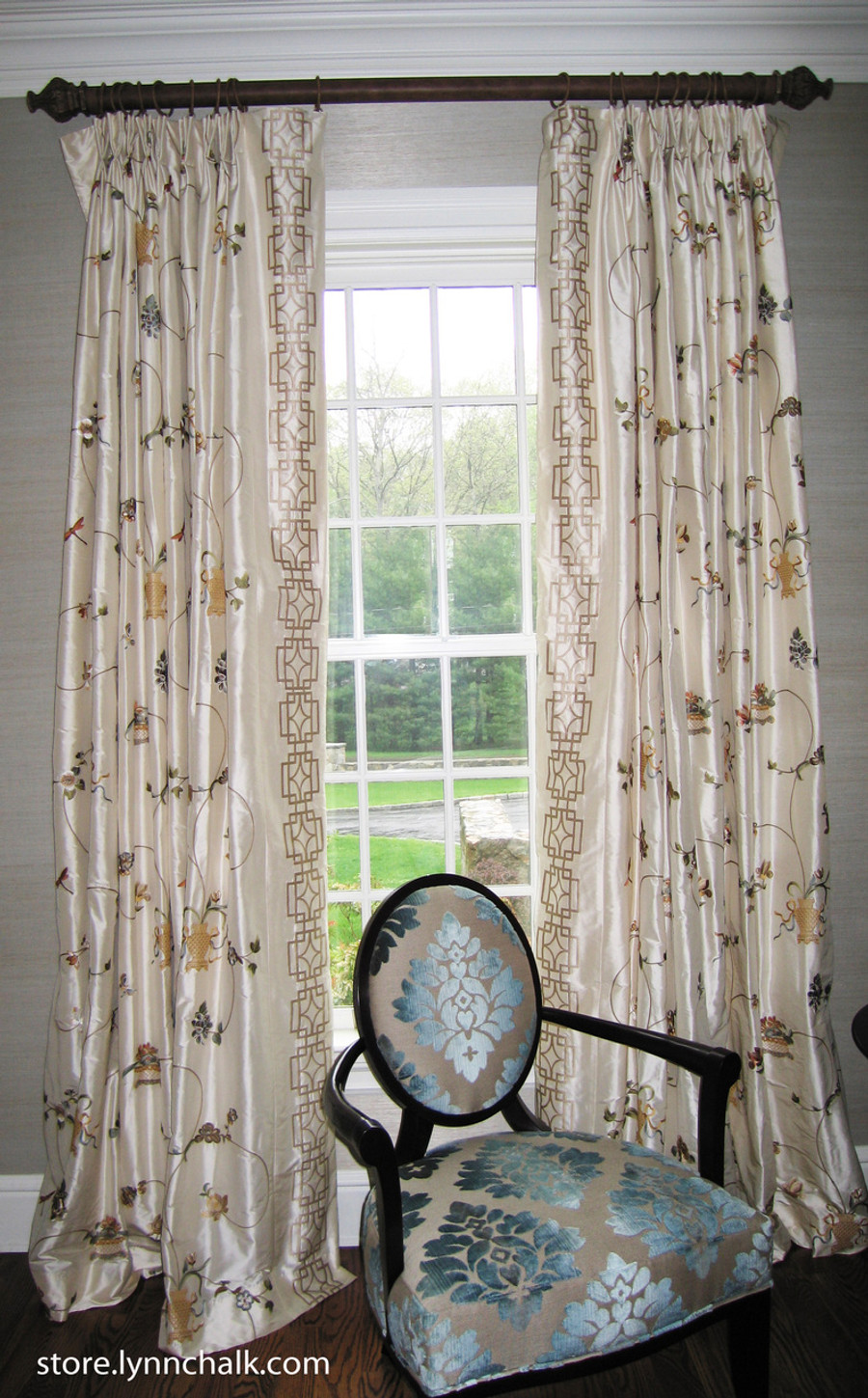 Custom Pleated Drapes by Lynn Chalk in Cowtan & Tout Chinois Border in Multi/Ivory