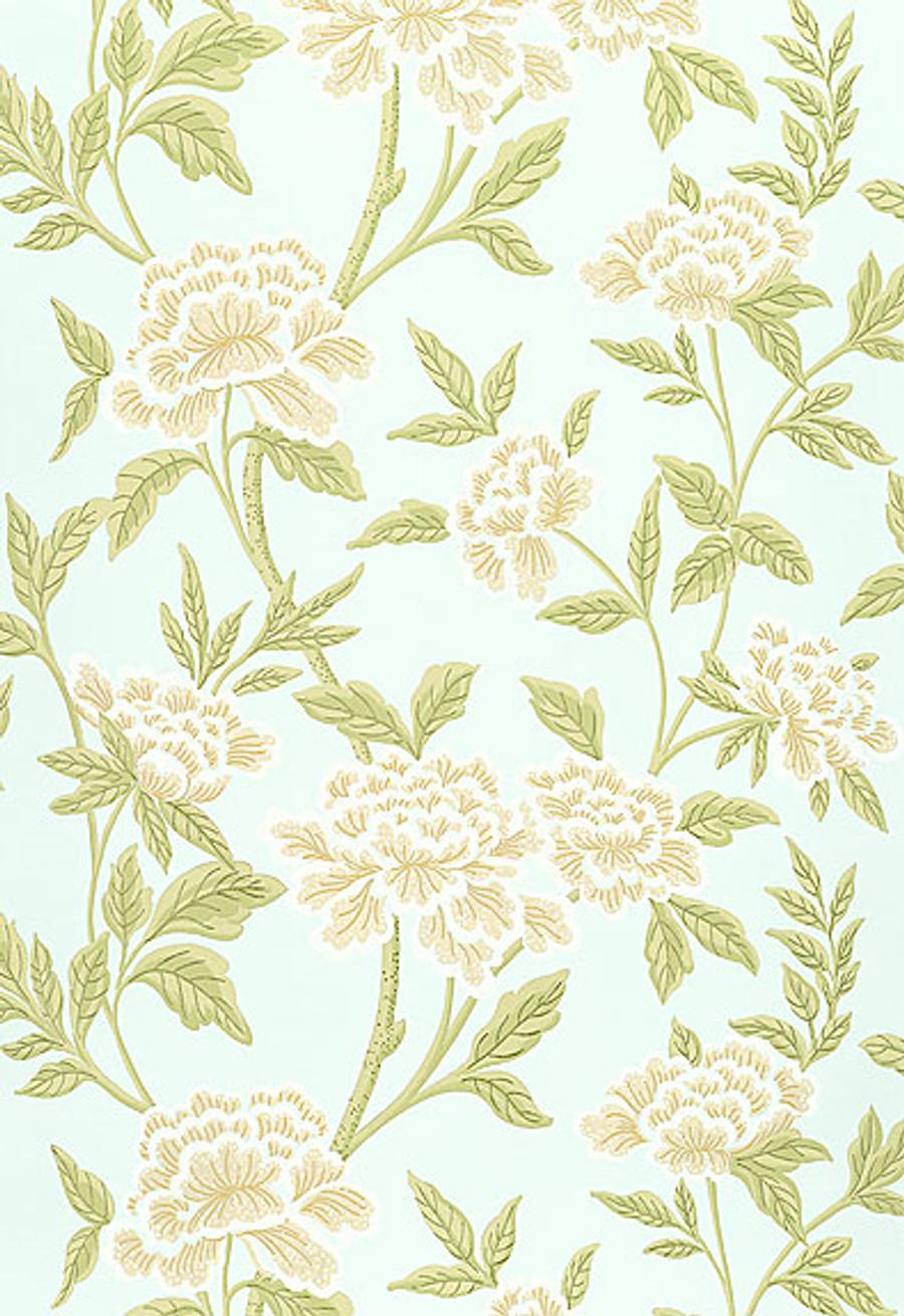Schumacher Whitney Floral Wallpaper in Aqua
