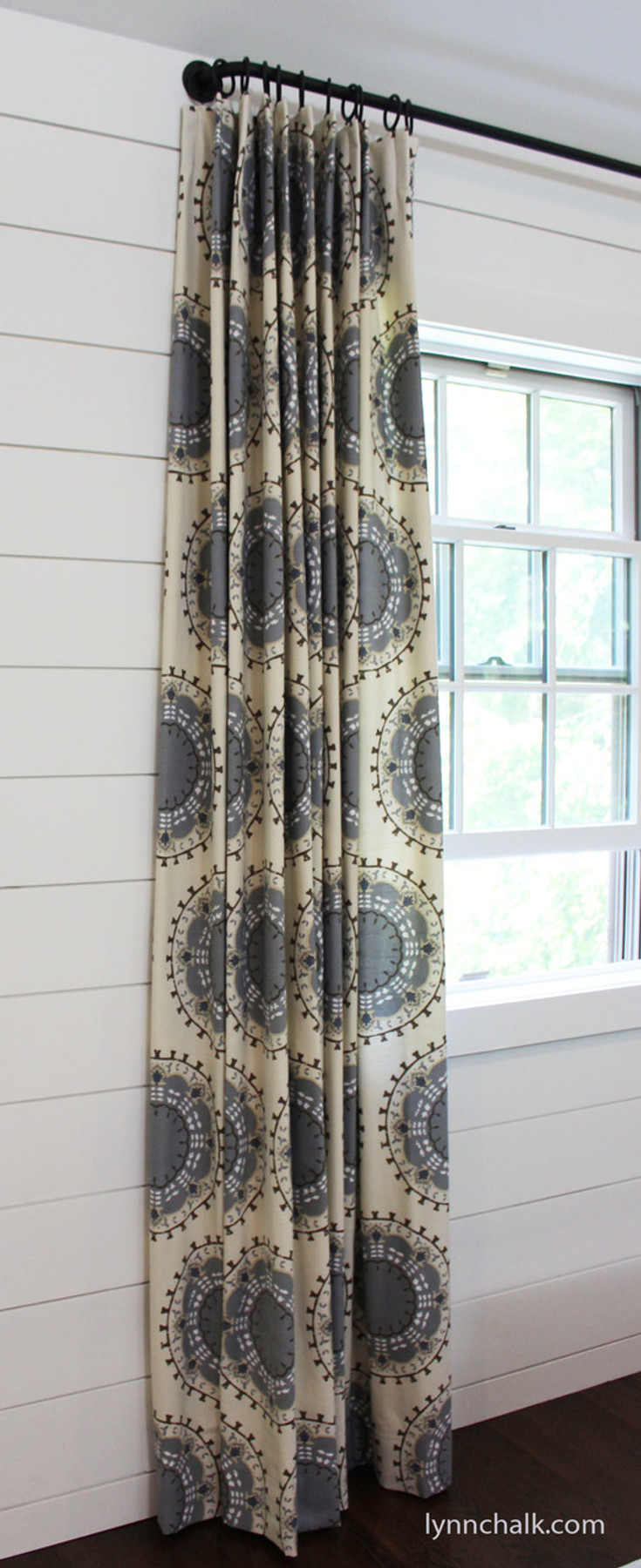Custom Drapes by Lynn Chalk in Robert Allen Dwell Studio Medallion Band in Mineral