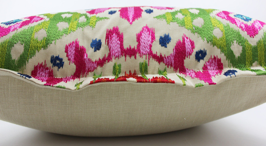"""Pillow has 1"""" Flange.  Back is in Kravet 32344-616 in Natural Linen which matches perfectly the natural background of Bella."""