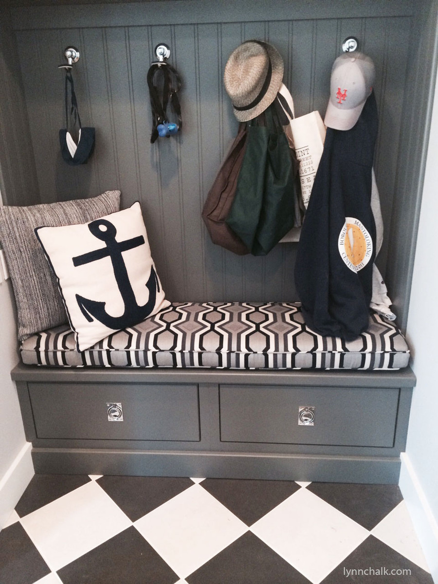 "Custom Cushion by Lynn Chalk in Robert Allen Diamond Vista in Navy  (Picture sent in by client) Cushion in Picture is 59"" X 17 1/2"" X 3"""