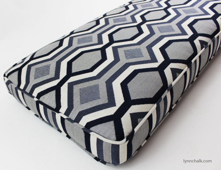 Custom Cushion by Lynn Chalk in Robert Allen Diamond Vista in Navy