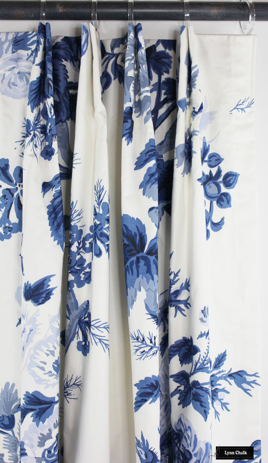 Schumacher Pyne Hollyhock Print Custom Drapes (shown in Indigo-comes in several colors)