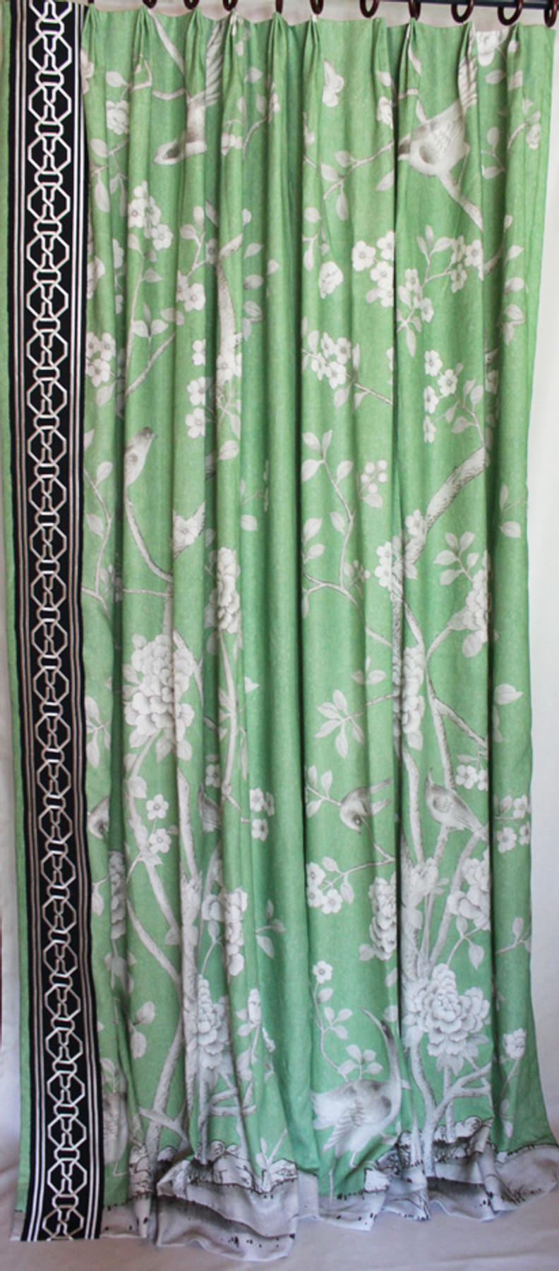 Custom Fan Pleated Drapes by Lynn Chalk in Mary McDonald Chinois Palais in Lettuce with Malmaison Trim in Noir/Swan