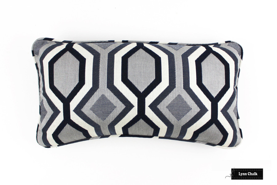 ON SALE 50% Off-Robert Allen Diamond Vista Navy Pillow (choice of sizes) With or Without Welting - Both Sides - Made To Order