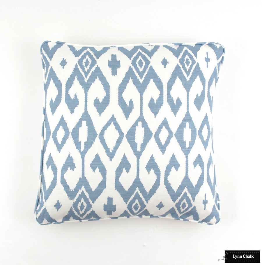 Aqua II French Blue on White Pillow with Self Welting (18 X 18)