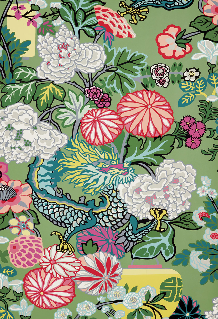 Schumacher Chiang Mai Dragon Jade Wallpaper 5001067 - Priced by the Single Roll - Sold by the Triple Roll