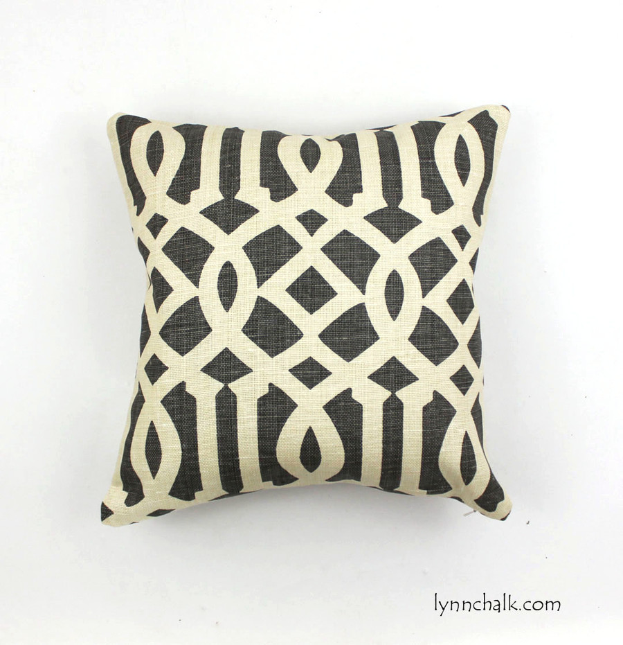 Imperial Trellis in Midnight/Parchment (-Charcoal Grey-18 X 18)