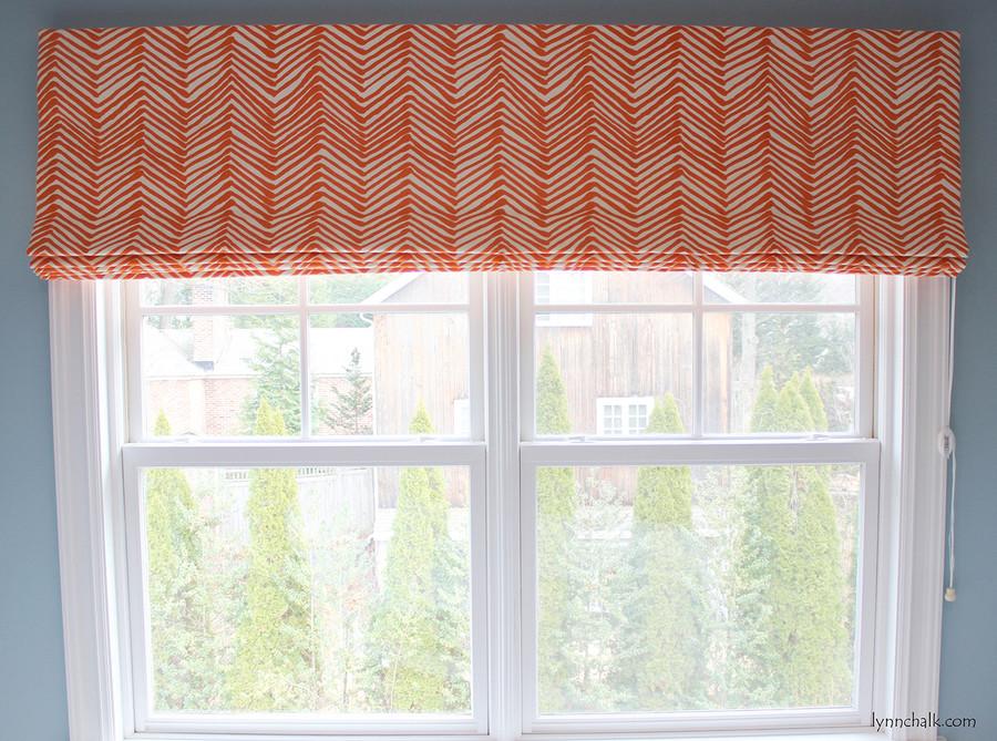 Roman Shade in Zig Zag in Orange for Double Window