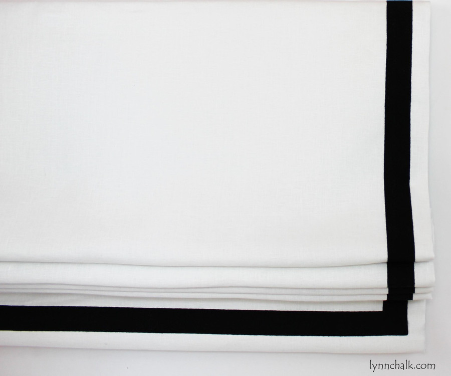 "Roman Shade in Robert Allen Milan in Pearl with Samuel and Sons 1 1/2"" Grosgrain Ribbon Trim in Black set in 1"" from edge."