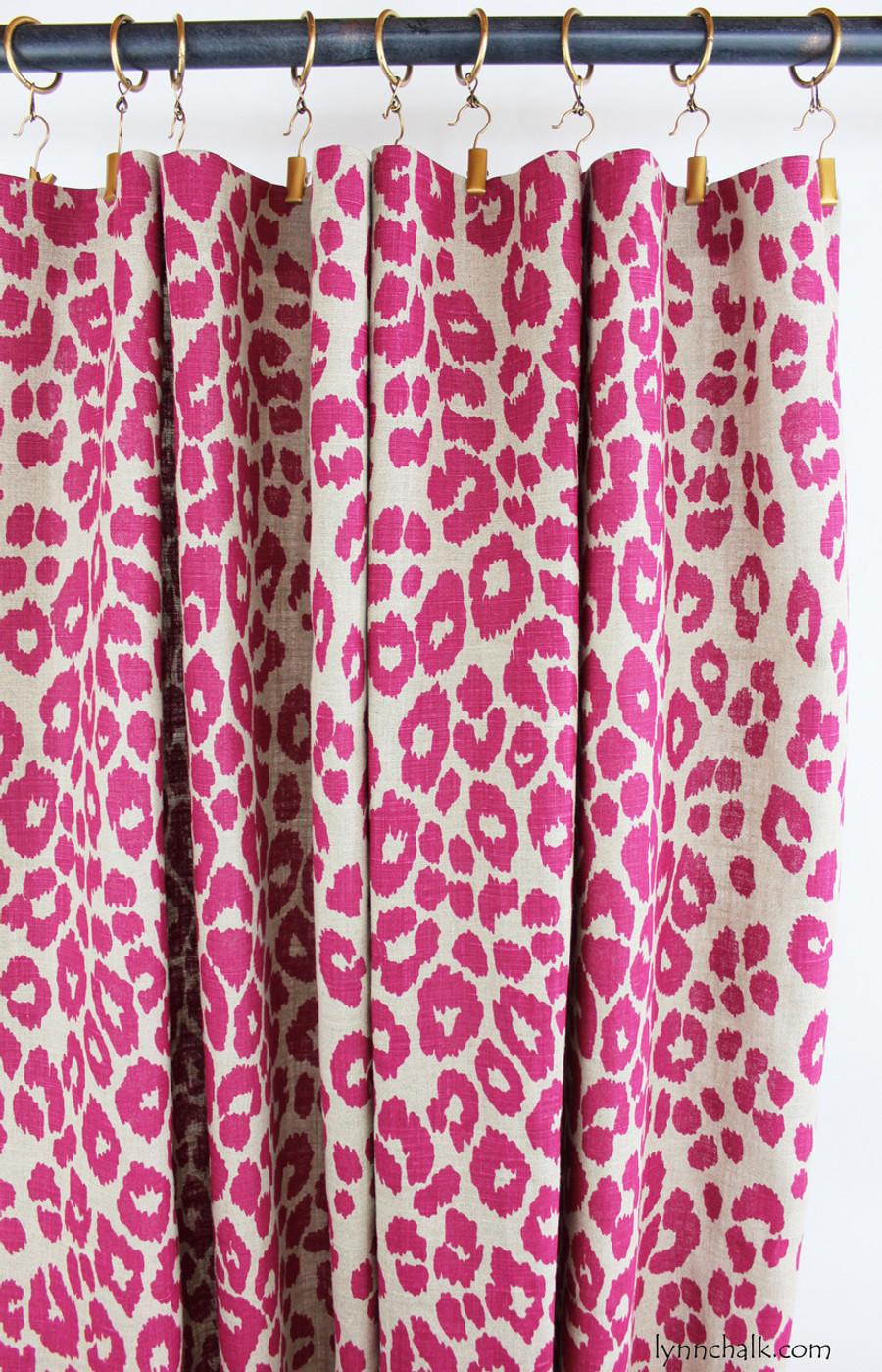 Custom Flat Panels by Lynn Chalk in Schumacher Iconic Leopard Fuchsia/Natural