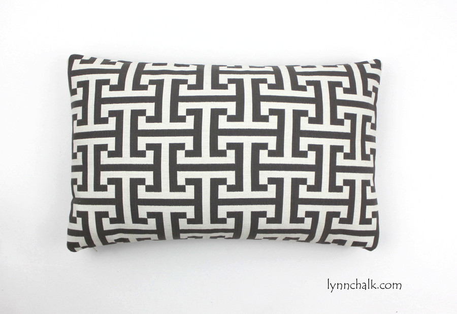 "Custom Pillow in Holly Hunt Insigna Cream/Iron 124/03 (12"" X 20"")"