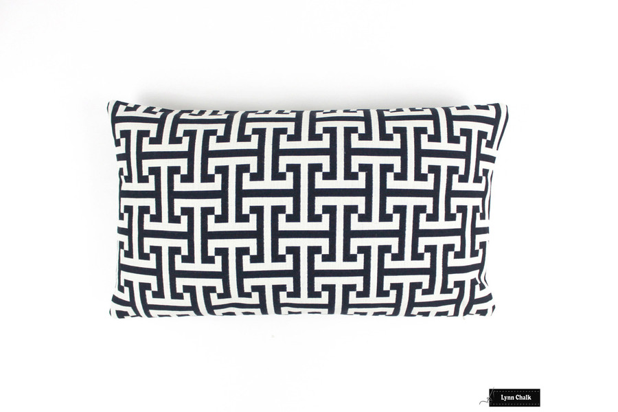 Custom Pillow in Holly Hunt Insigna Cream/Midnight Navy 124/04 (14 X 24)