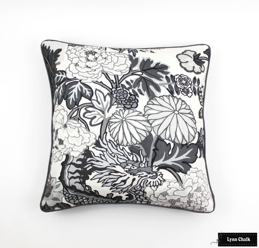 Custom Pillows in Schumacher Chiang Mai Dragon in Smoke with Charcoal Welting 24 X 24