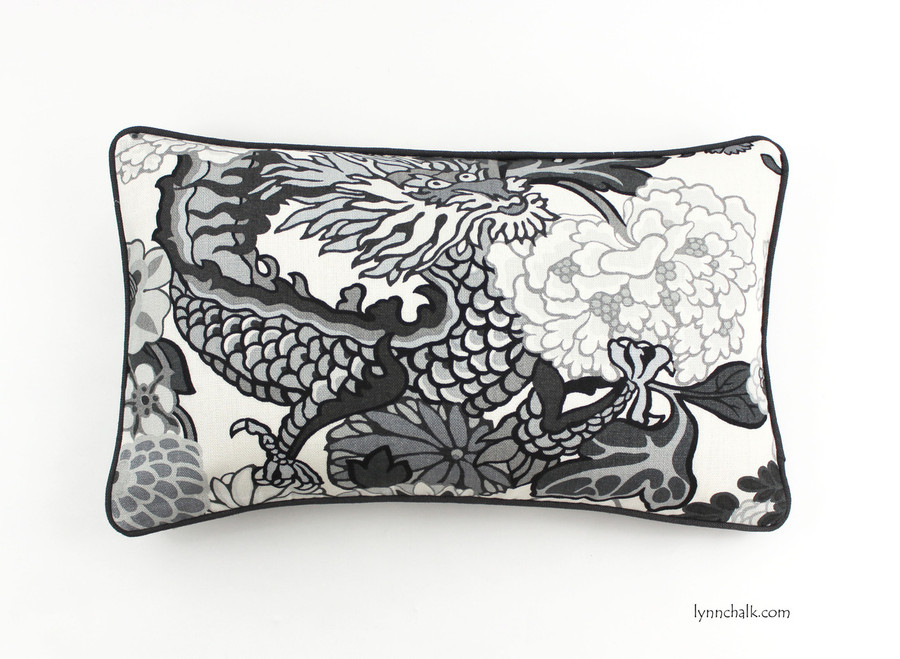Schumacher Chiang Mai Dragon Pillows in Smoke with Charcoal Grey Welting -  2 Pillow Minimum Order
