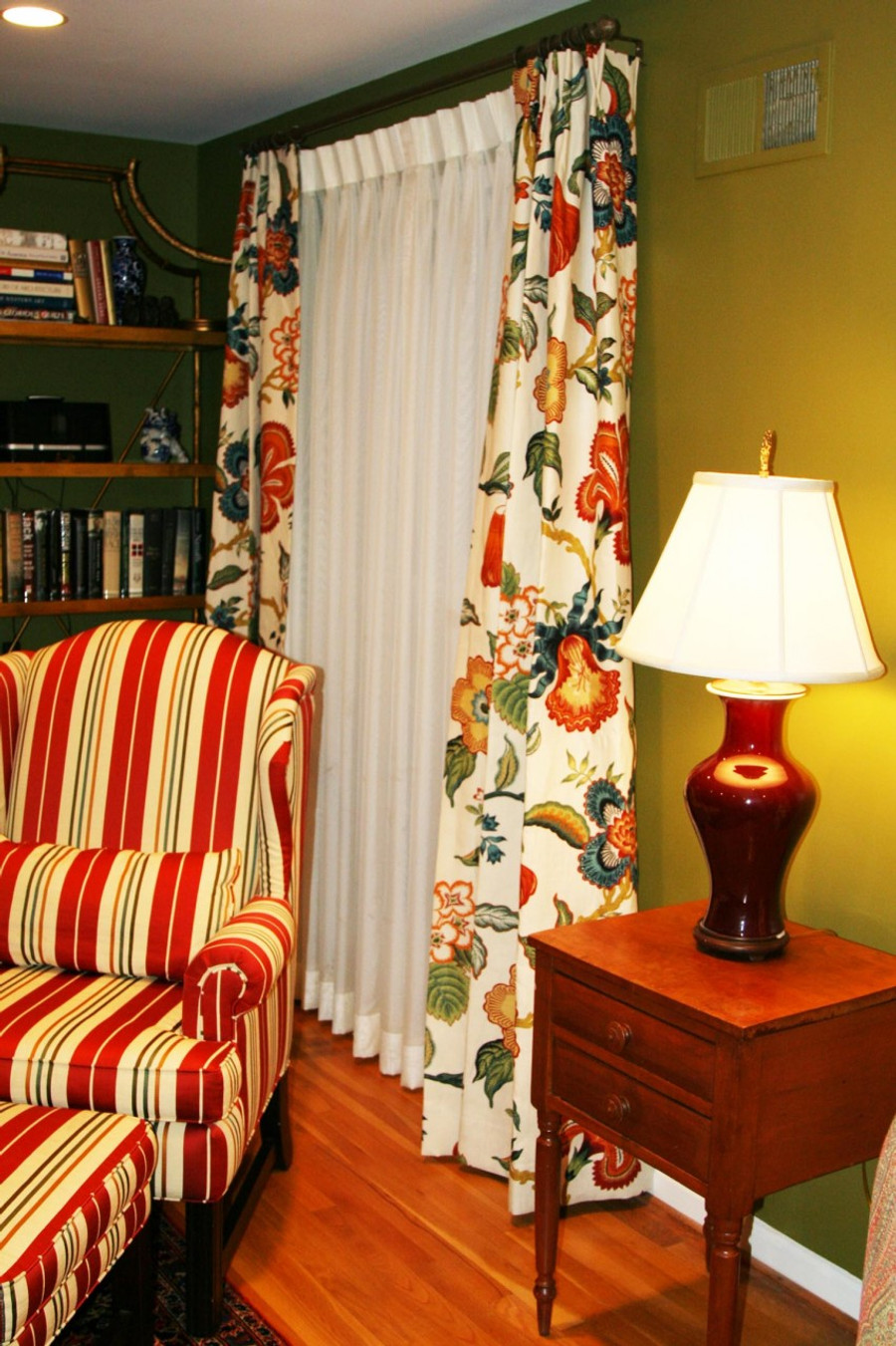 Custom Pleated Drapes by Lynn Chalk in Schumacher Celerie Kemble Hot House Flowers Spark installed in client's house