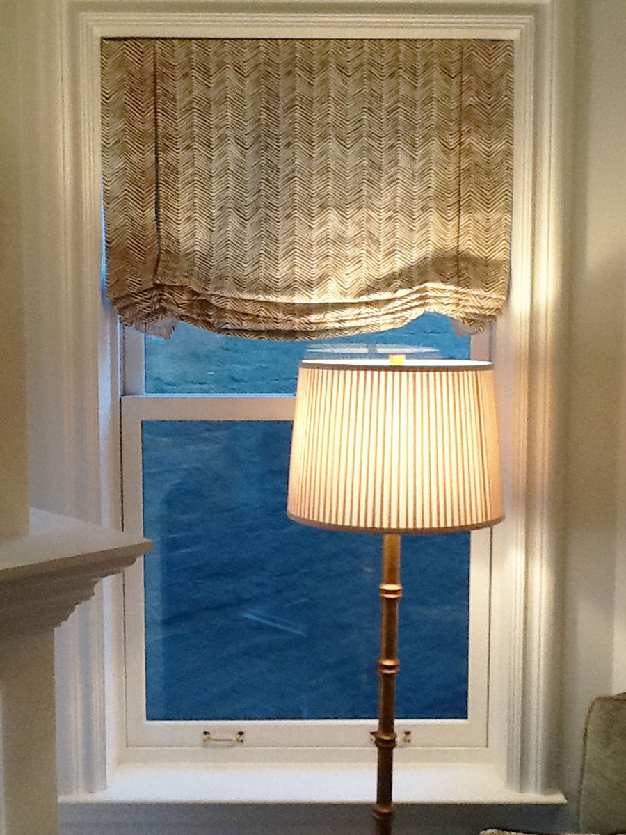 Custom London Style Roman Shades by Lynn Chalk in Quadrille Alan Campbell Petite Zig Zag after installation (photo sent in by client)