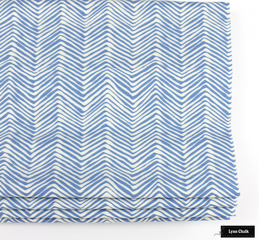 Roman Shade in Petite Zig Zag French Blue on Tint