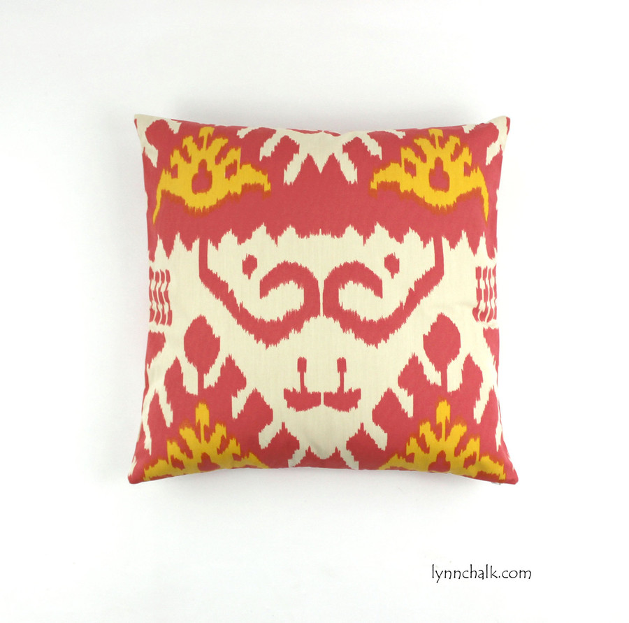 "Custom Pillow by Lynn Chalk in Quadrille Kazak (Shown in Coral and New Yellow on Suncloth 20"" X 20"")"