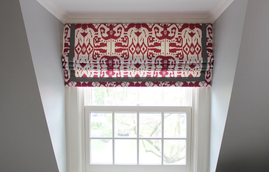 Custom Roman Shade by Lynn Chalk in Quadrille Island Ikat in Magenta with Samuel & Sons Trim