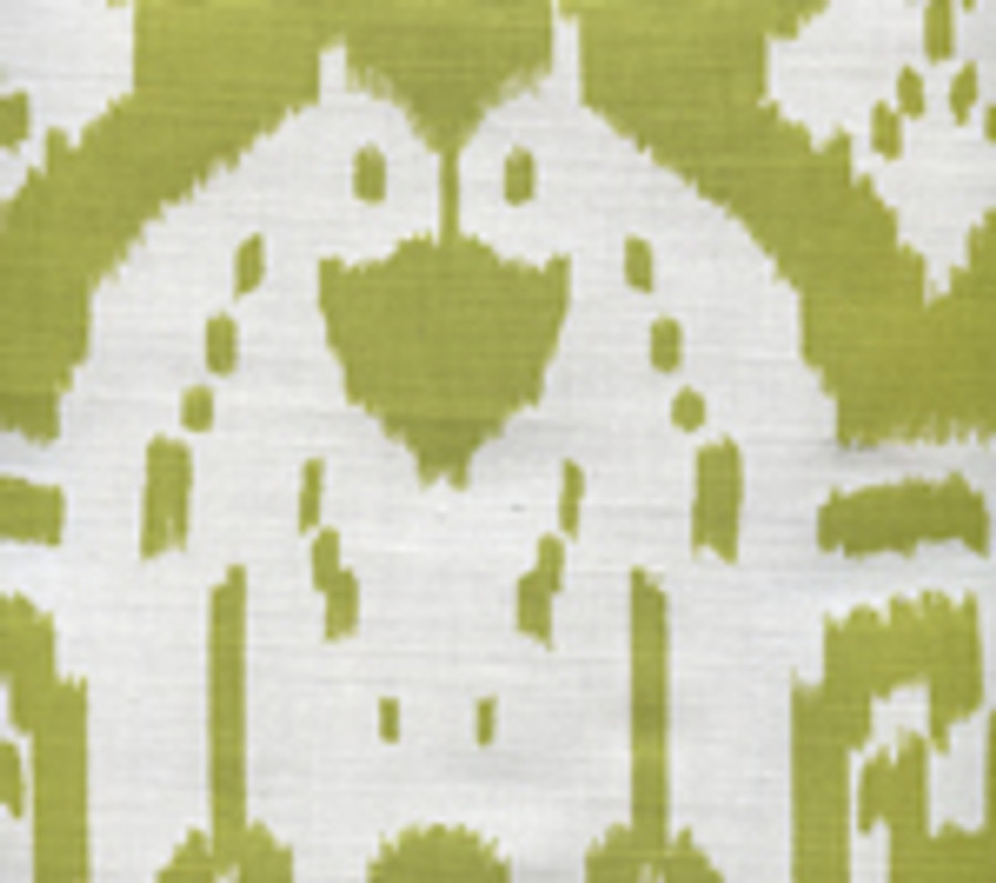 Quadrille Island Ikat Palm Green on White 6460--09
