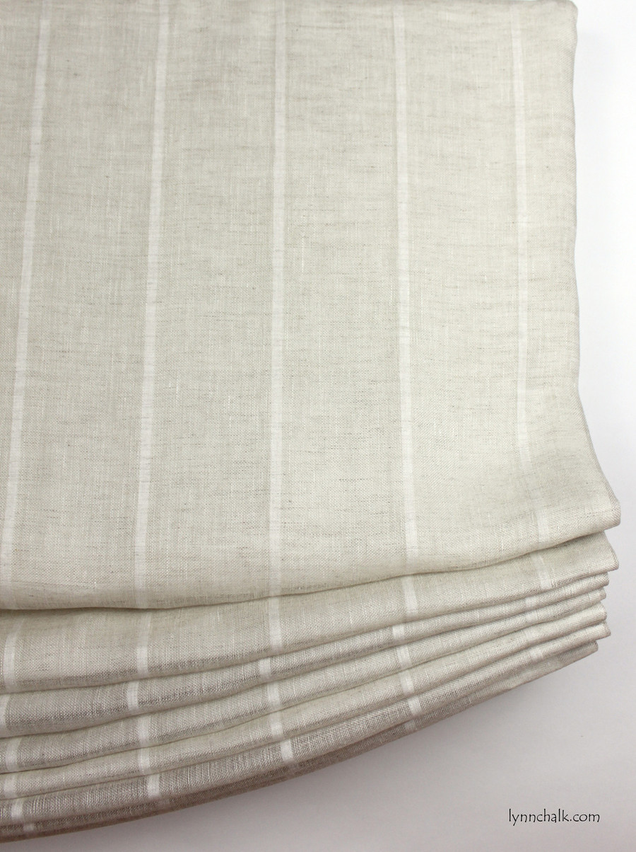 Casual Relaxed Roman Shades by in Kravet 3586-16 Natural Sheer Linen Stripe
