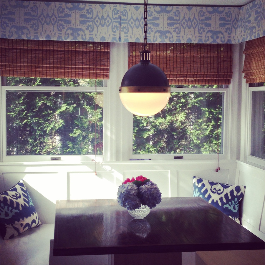 Custom Box Pleated Valance by Lynn Chalk in Quadrille Island Ikat in Zibby Blue (Picture sent in by client)