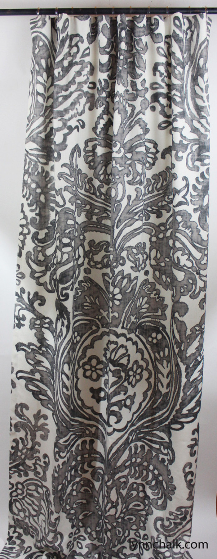Custom Drapes in Schumacher Tremezzo Damask in Graphite