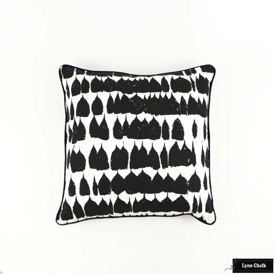 Pillow in Queen of Spain in Black with Black Welting (20 X 20)