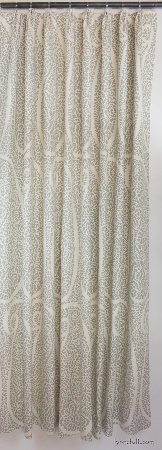 Custom Fan Pleated drapes in Schumacher Ambala Paisley Fog