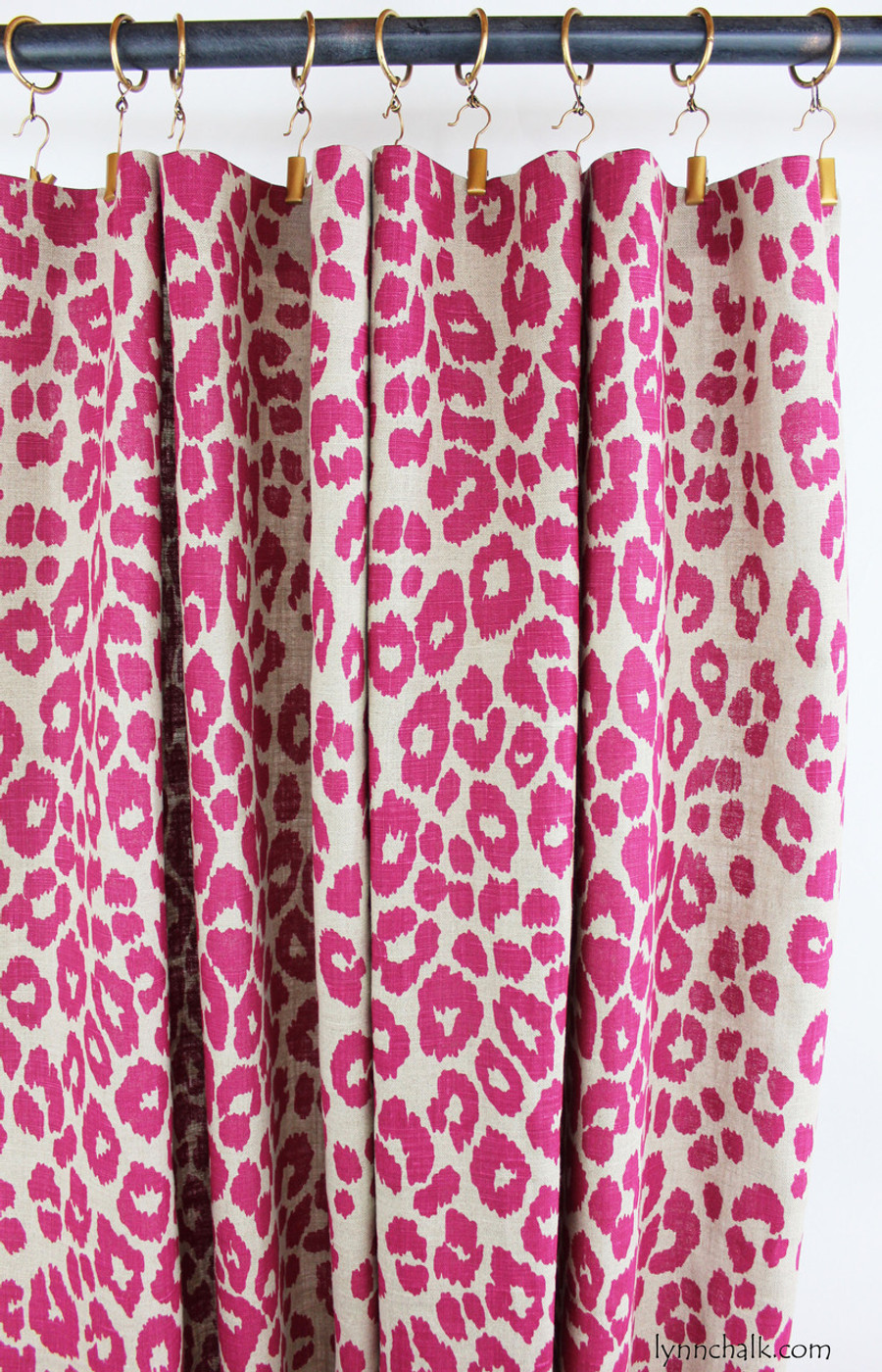 Custom Flat Panels by Lynn Chalk in Schumacher Iconic Leopard Fuchsia/Natural