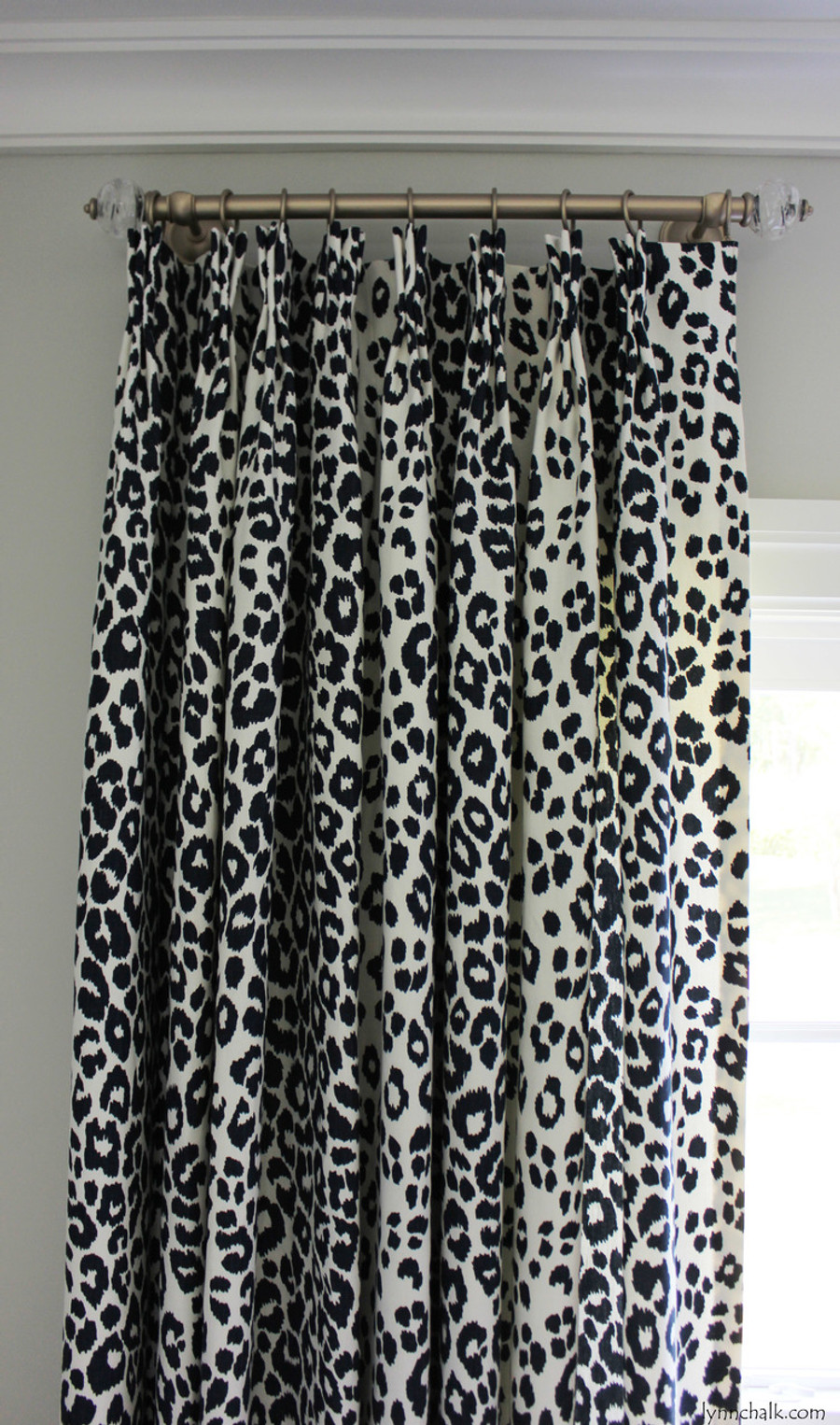 Schumacher Iconic Leopard Custom Drapes (Shown in Fuchsia/Natural - comes in other colors)