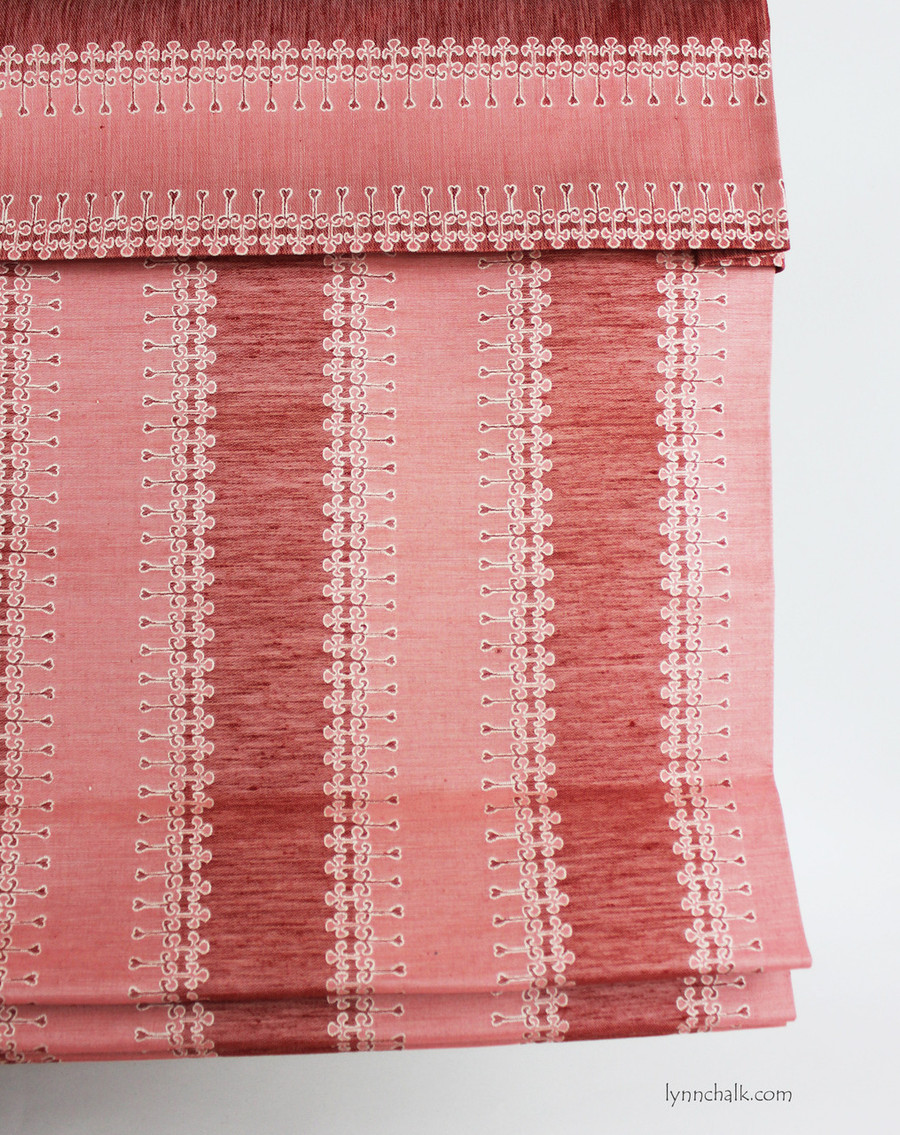 Custom Roman Shade by Lynn Chalk in Duralee Olsen 15630-17 Rose.  The valance is in Olsen with the stripe going horizontally.