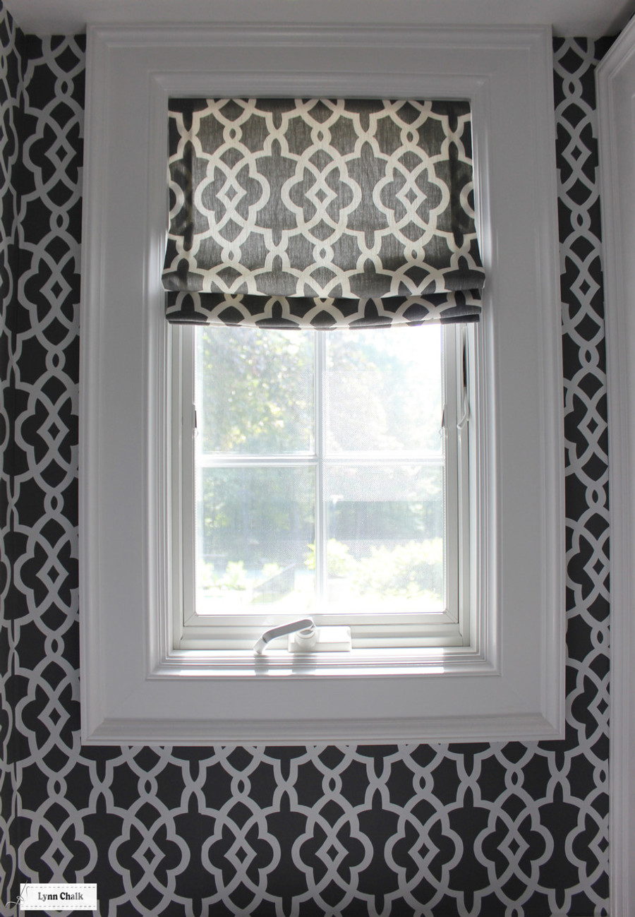 Roman Shade in Summer Palace fret in Smoke with matching wallpaper Custom Roman Shades by Lynn Chalk ...