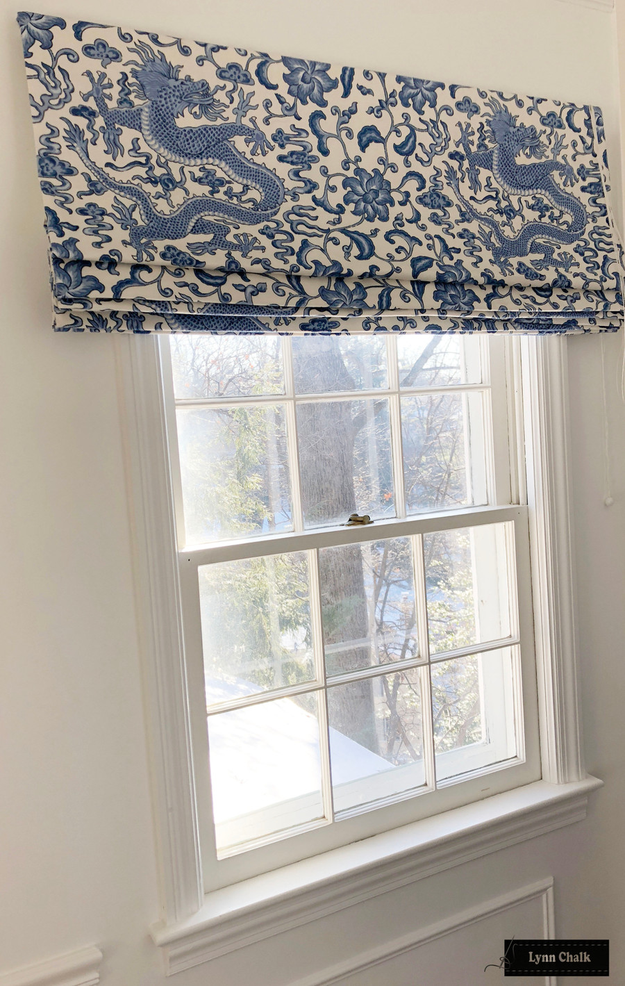Scalamandre Chi'en Dragon Custom Roman Shades (Shown in Blue on White which is discontinued-comes in several colors)